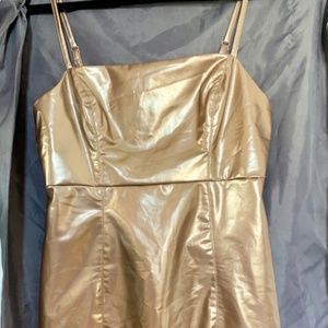 Metallic Faux Patent Leather Shift Dress Forever21